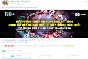 Quảng Bình: Tuyên truyền Giờ Trái đất 2020 qua hình thức trực tuyến, mạng xã hội